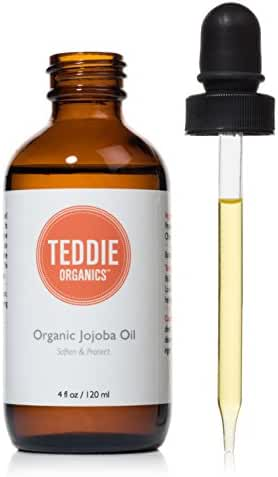 Teddie Organics Golden Jojoba Oil 100% Pure Organic Cold Pressed and Unrefined 4oz – Natural Oil Moisturizer for Face Hair and Healthy Skin
