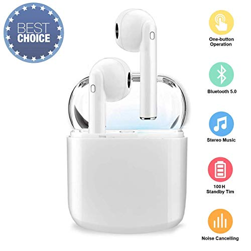 True Wireless Bluetooth Headphones,in-Ear 5.0 Wireless Earbuds Stereo Bluetooth Headset with Microphone Anti-Sweat Sports Earbuds,Earphones Compatible with Airpods Android/iPhone