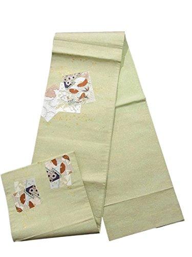 こしょう贈り物ストライクリサイクル 袋帯 紗刺刺繍 切嵌 重ね色紙に菊や桐 古典柄 正絹 お太鼓柄