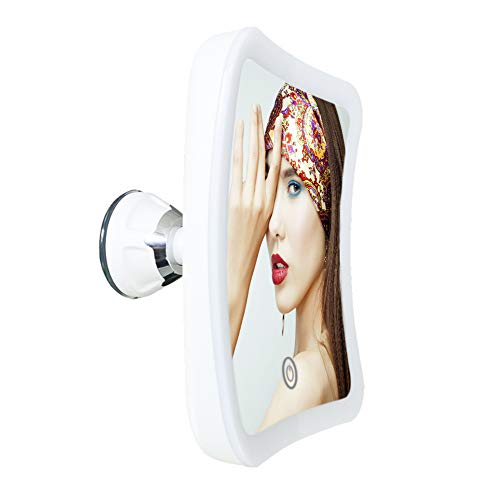 5X zoom fixed suction cup with light makeup mirror Portable rotatable battery powered vanity mirror USB power touch screen switch bathroom mirror