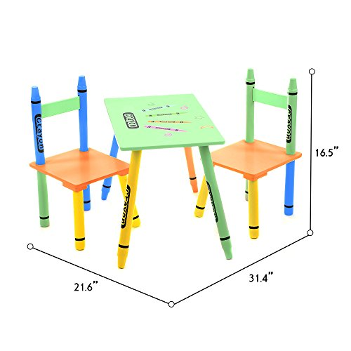 Toddler Sized Bebe Style Kids Wooden Table and Chair Set for Kids, Crayon Theme - Colorful, Stylish, and Easy to Assemble (Kids Sized Table And Chairs)