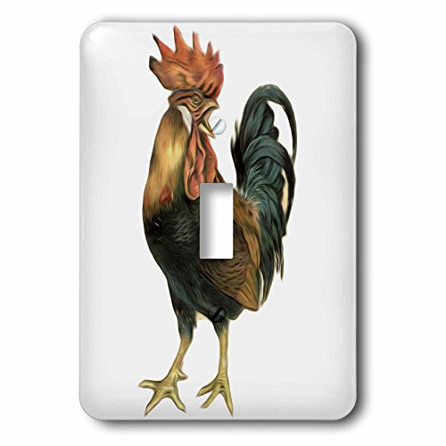 3dRose lsp_119023_1 Vintage Antique Bird Illustration Cock Rooster Chicken Single Toggle Switch (Switchplate Rooster)