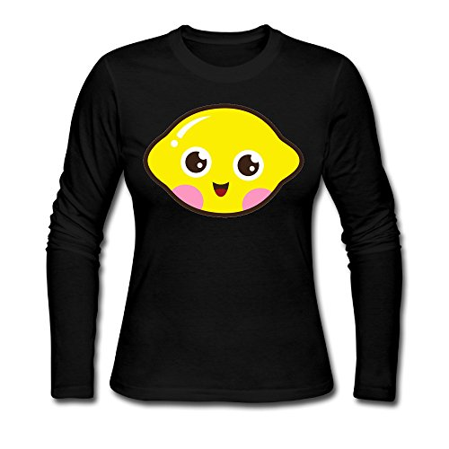 emon Women's Custom Blank Long Sleeve Tee Black S (Benefit Lemon Aid)