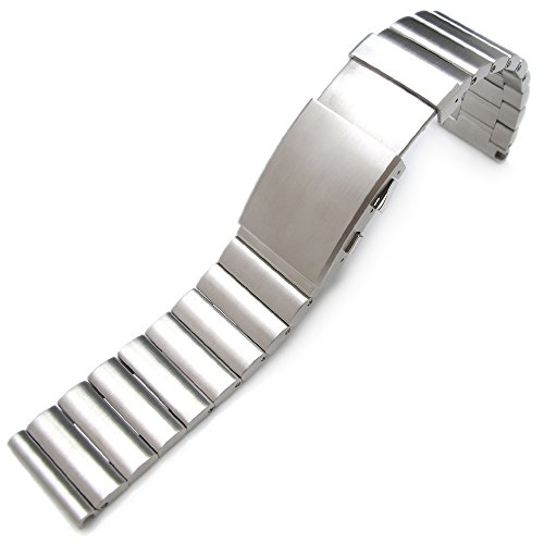 24mm Bandoleer 316L Straight End Stainless Steel Watch Band Divers Extension Clasp by 24mm Metal Band by MiLTAT