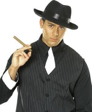 Pinstripe Gangster Adult Shoes (Black Pinstripe Gangster Hat)