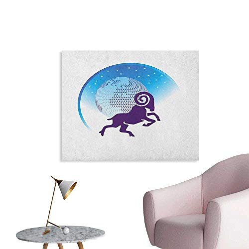 Anzhutwelve Zodiac Aries Wallpaper Globe Icon Covered with Stars Cosmic Energy Abstract Goat Cool Poster Dark Purple Blue and White W48 xL32 ()