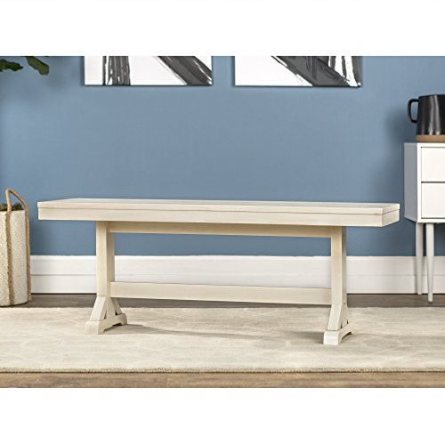 WE Furniture 48″ Millwright Wood Dining Bench – Antique White