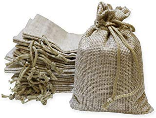 40 Pieces Burlap Bags with Drawstring, 5.4x3.7 inch Burlap Drawstring Gift Bag Jewelry Pouches for Wedding and Party Favors, DIY Craft, Presents, Christmas ()