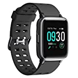 Smart Watch 2019 Version Swimming Waterproof IP68,Willful Fitness Tracker Watch with Heart Rate Monitor Sleep Tracker,Smartwatch Compatible with iPhone Android Phones for Women Men Kids (Black)