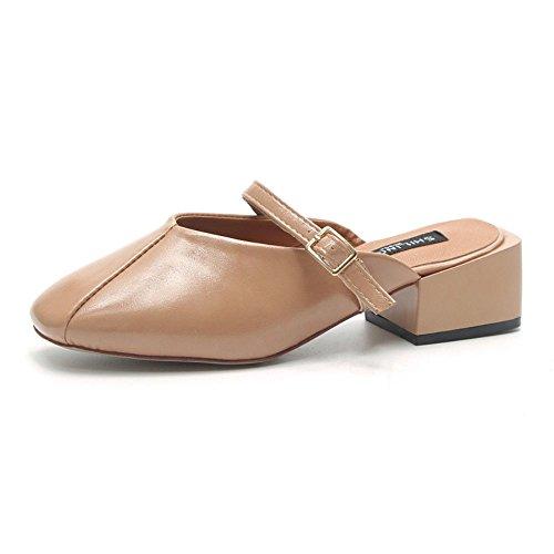 Pantofole Albicocca Medio Pantofole da Colore Semi Donna IANGL e di Estivo Baotou Tacco Albicocca Fredde HTUpPwq