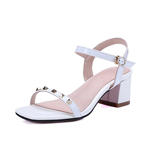 AllhqFashion Women's Patent Leather Open Toe Kitten-Heels Buckle Solid Sandals White YN2egZwM8g