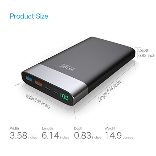 electricity Bank Vinsic 20000mAh very lean External Battery by usually means of  speedy Charger Pack two USB easily transportable Charger Backup Type C shrewd USB Outputs for All Smartphones iPhone iPad iPod Samsung instruments Android shrewd cellular phones Tablet PCs around Chargers