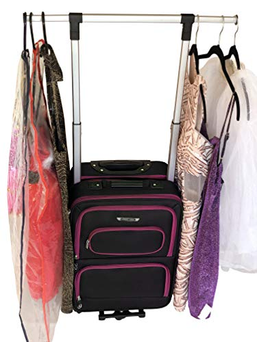 """The Dance Angel Suitcase Hot Pink and Black""""The Classic"""" Carry-On (Rolling Dance Bag With Costume Rack) from The Dance Angel"""