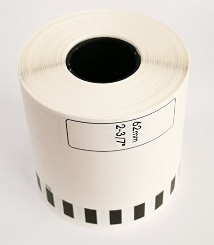 (Brother Compatible DK2113 DK-2113 Black on Clear Continuous Length Film Tape 2.4 in x 50 ft (62 mm x 15.2 m) (10 rolls w/ 1 reusable cartridge))