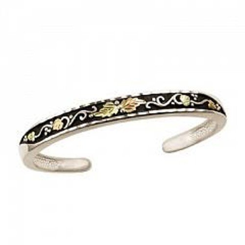 Black Hills Gold Antiqued Silver Bangle Bracelet (Hills Gold Black Bangles)