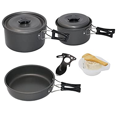 Startostar 13pcs Camping Cookware for 3-4 People with 2 Pot and 1 Pan Lightweight, Compact, Durable Cooking Equipment Bonus Spork and Mesh Bag