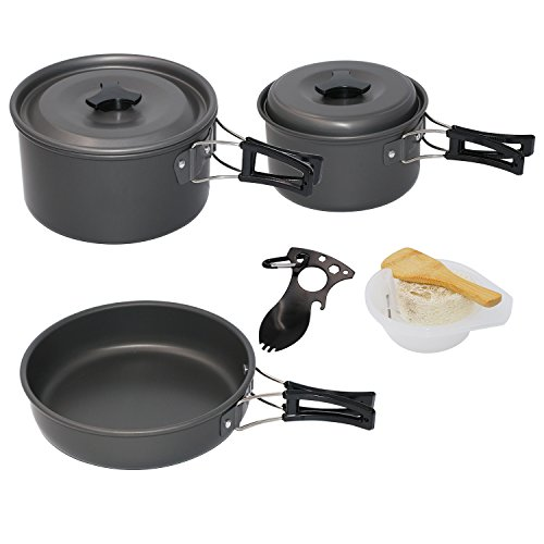 Startostar Camping Cookware Mess Kit for 3-4 People with 2 Pot and 1 Pan Lightweight, Compact, Durable Cooking Equipment Bonus Spork and Mesh (Two Person Meal)