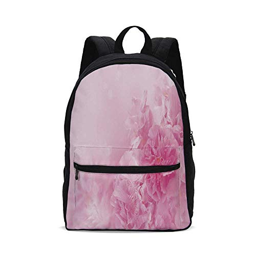 - Light Pink Fashion Canvas printed Backpack,Spring Flowers Close Up Florets Bouquet Elegance Beauty Wedding Shabby Chic Print Decorative for school,One_Size