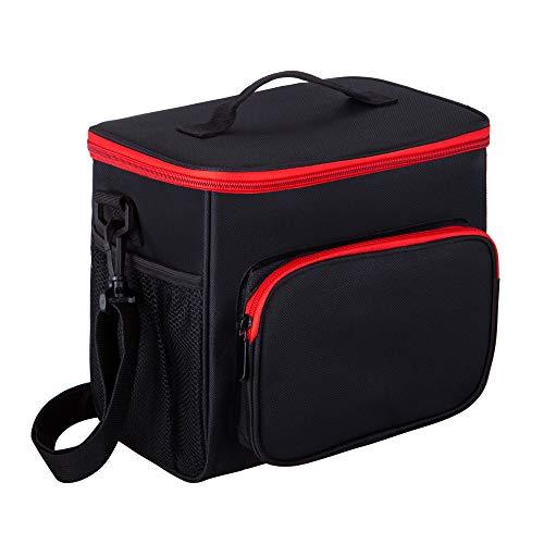 (Adult Lunch Box Insulated Lunch Bag Large Cooler Tote Bag for Men & Women, Double Deck Heat-resistant Cooler with Adjustable Shoulder Handbag (black) )