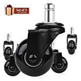 8T8 Replacement Chair Caster Wheels 2'', Heavy Duty Wheels with Plug-in Stem 7/16''X7/8'',Quiet & Smooth Rolling, No Chair Mat Needed, Safe for Hardwood Carpet Tile Floors,Set of 5