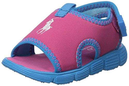 Kids Stretch Sandal (Polo Ralph Lauren Kids Wavecroftii PK Stretch PU/CRB BL Sport Sandal (Toddler), Pink/Caribbean Blue, 7 M US Toddler)