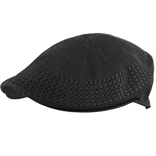 The Hat Depot Classic Mesh Newsboy Ivy Cap Hat (M, Black) ()