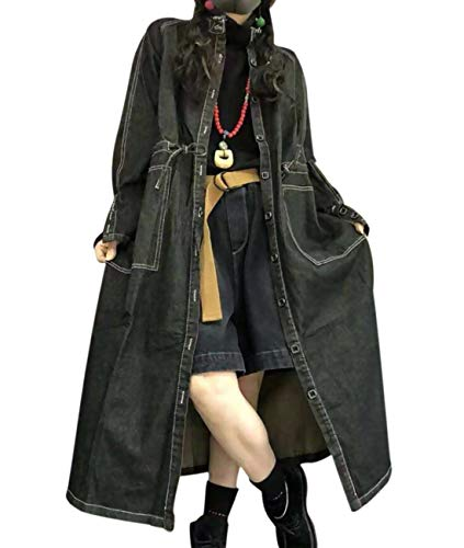 - YESNO Women Long Casual Maxi Denim Jacket Fringed Neckline Loose Waist Drawstring Waist Pockets XG2