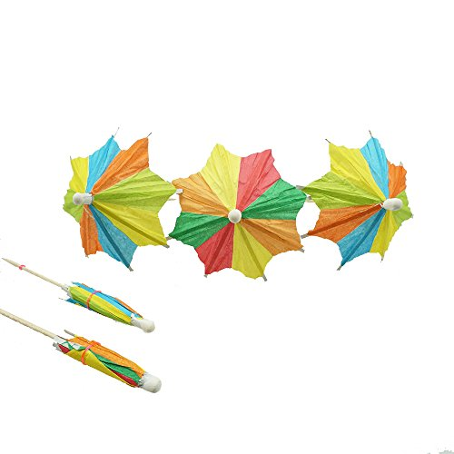 (Bilipala Colorful Paper Umbrellas, Cocktail Parasol Picks Cupcake Toppers Picks, Pack of)