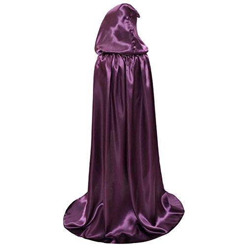 Kids Hood Cloak Costume Full Length Cape for Halloween Christmas Coaplay Cloak (Purple, 100cm / -