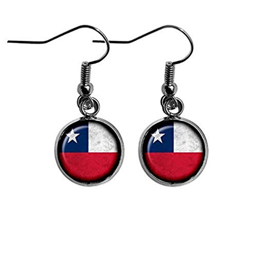 Sunshine Chile Chilean Flag Earrings,Dome Glass Ornaments, Gifts for her