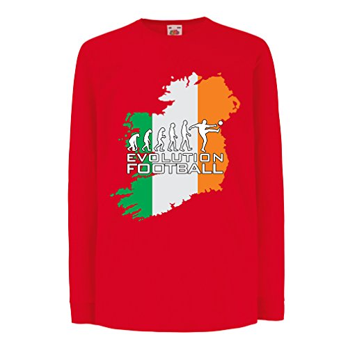 fan products of lepni.me T-Shirt For Kids Evolution Football - Ireland (9-11 Years Red Multi Color)