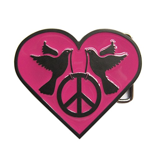 New Heart With Peace Sign Dark Pink Enamel Belt Buckle Gurtelschnalle