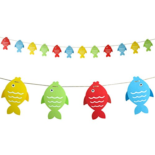 Fish Banner Paper Pennant for Gone Fishing Party Supplies School Decoration 12Pcs -