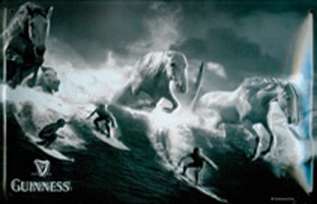 GUINNESS SURFER 3D Embossed Vintage Tin Metal Pub Sign (Tin Surfer)