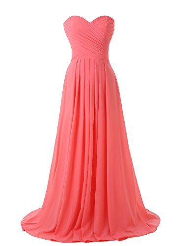 Corset Long Gown (Kiss Dress Strapless Long Bridesmaid Dresses Chiffon Sweetheart Evening Gowns (XL, Coral))