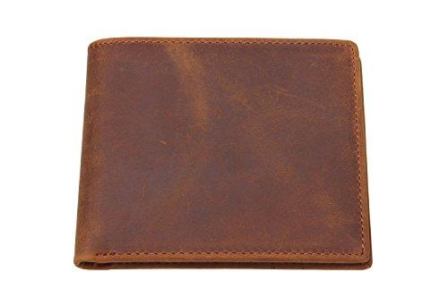 Iblue Men's Vintage RFID Blocking Genuine Leather Slim Bifold Wallet Handmade W8029 (brown)