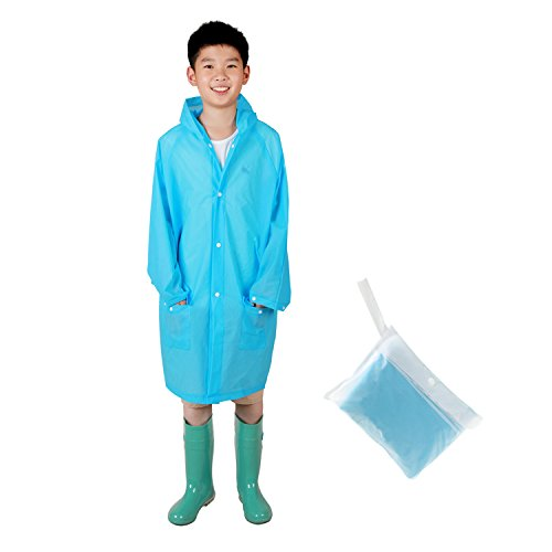 PAMASE Reusable Rain Poncho with Hood for Kids - Recommend for 3'11'' - 4'5''