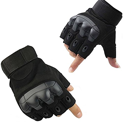 Padded Knuckle (Fuyuanda Half Finger Outdoor Gloves Hard Knuckles Tactical Glove for Shooting, Military, Hunting, Driving, Paintball, Cycling, Airsoft, Army, Sporting Motorcycle Glove Black Medium)