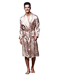 Men's Kimono Robe Knee Length Lightweight Floral Bath Sleepwear Satin Bathrobe Robe