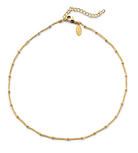 Benevolence LA Choker Necklace 14k Gold Dipped: Satellite Beaded Curb Ball Chain Chokers 1mm Hypoallergenic Necklaces for (14k Gold Beaded Necklace)