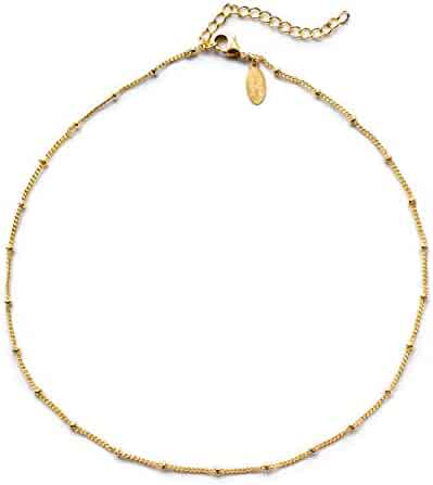 Benevolence LA Choker Necklace - Gold Necklace for Women 14k Gold Dipped Satellite Beaded Curb Ball Chain Gold Choker Layering Womens Necklaces Simple Chokers Celebrity Endorsed