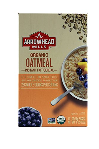 Arrowhead Mills Organic Instant Oatmeal, Original Plain Hot Cereal, 10-Count, 1-Ounce Packets (Pack of 4) (Packaging May Vary) ()