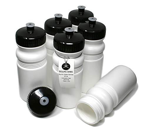 (Rolling Sands 20oz Sports Water Bottles 6 Pack (BPA-Free, Made in USA) Dishwasher Safe, White Bottles/Black Lids)