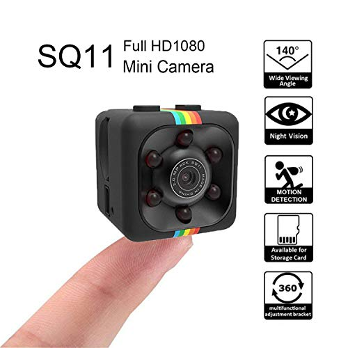 Mini Camera SQ11 High-Definition Camera, Night Vision Camera,Can View Remotely(Connect Cell Phone, Computer),Mini Video Recorder, Home Security Surveillance(Black) - Square Security Camera Mini