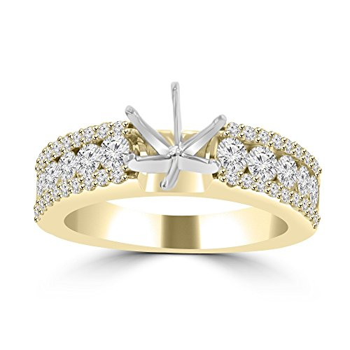 Diamond Ring Mounting - 1.09 ct Ladies Three Row Round Cut Diamond Semi Mounting Ring(Color G Clarity SI-1 ) in 14 kt Yellow Gold In Size 9