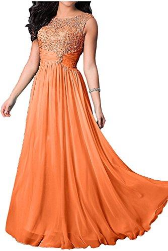 Abendkleider Marie Chiffon Damen Festlichkleider Brautmutterkleider La Brautmutterkleider Lang Orange Braut WaxwnUv