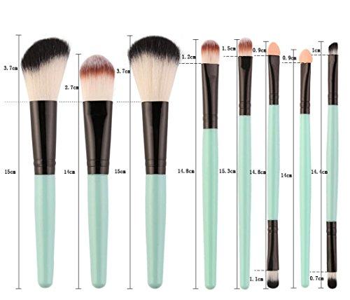 Sunsee 18 pcs Makeup Brush Set tools Make-up Toiletry Kit Wool Make Up Brush Set (Green)