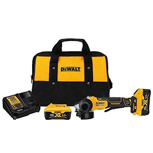 DEWALT DCG413R2 20V MAX XR 4.5 inch Brushless Paddle Switch Small Angle Grinder Kit with Kickback Brake
