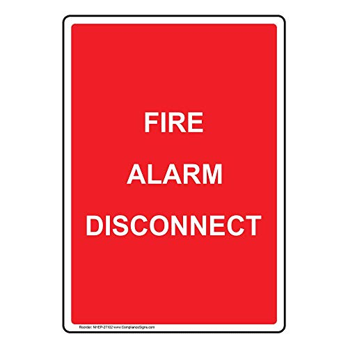 Fire Alarm Disconnect Sign, Red 10x7 in. Plastic for Fire Safety/Equipment by ComplianceSigns