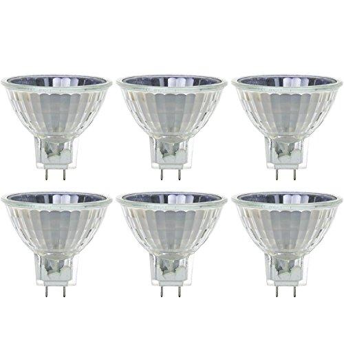 (Sunlite 40723-SU 20MR16/CG Halogen 20W 120V MR16 Flood Light Bulbs, GY8 Base, 6 Pack, 3200K Warm White)